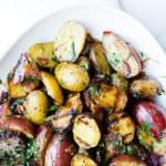 grilled potato salad on platter
