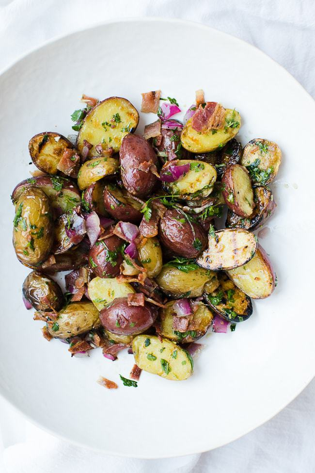 grilled potato salad in bowl