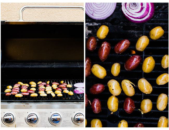 potatoes cut side down on grill