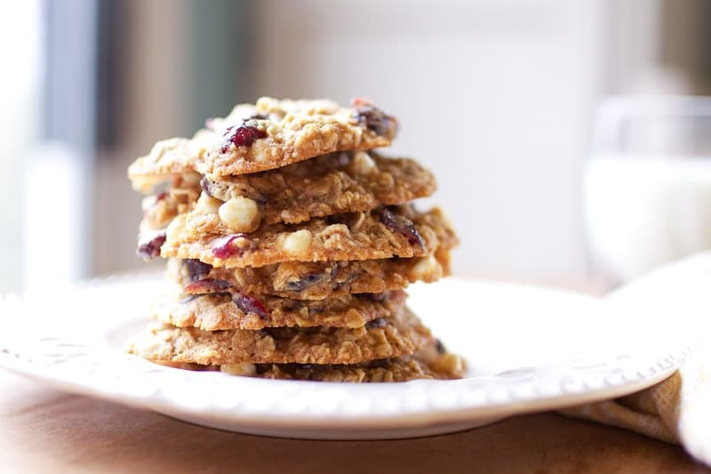 oatmeal cookies stacked on plate