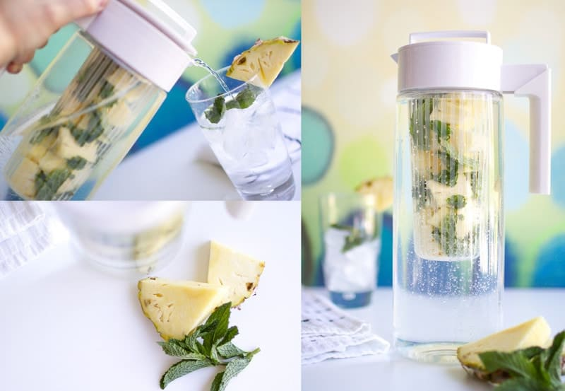 pineapple mint infused water being poured into glass