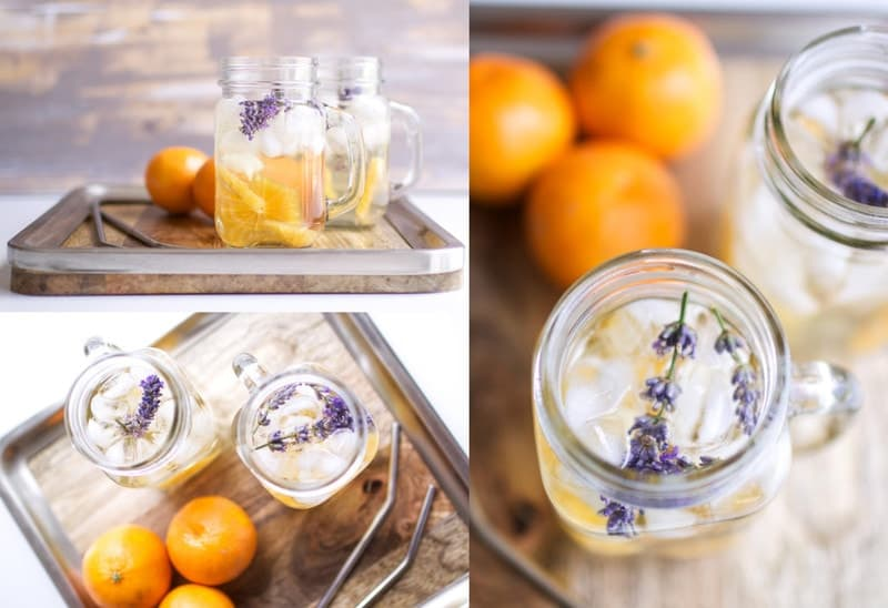 chamomile lavender infused water with mandarin oranges next to glass