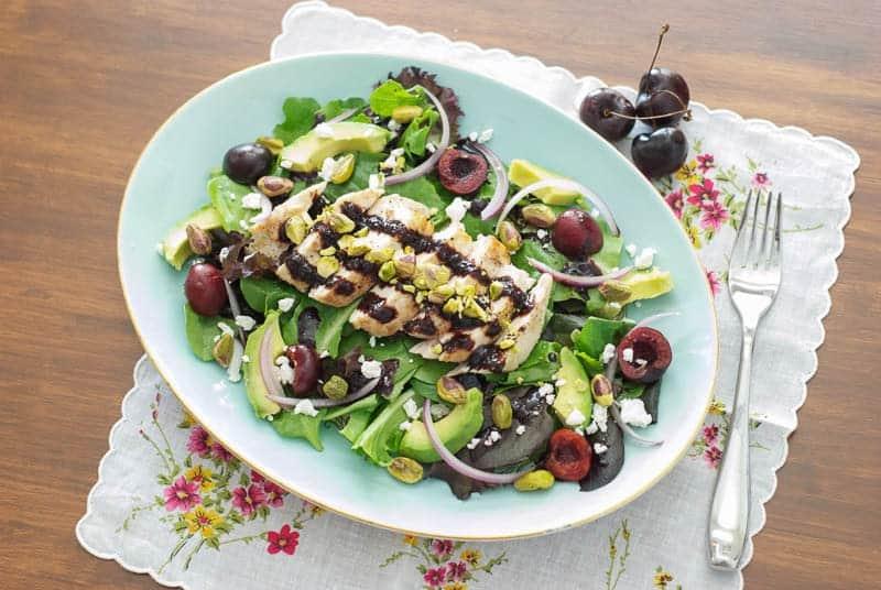 chicken cherry salad with cherry balsamic dressing