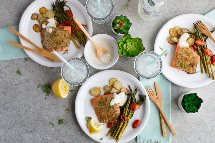Herb Crusted Salmon Sheet Pan Meal