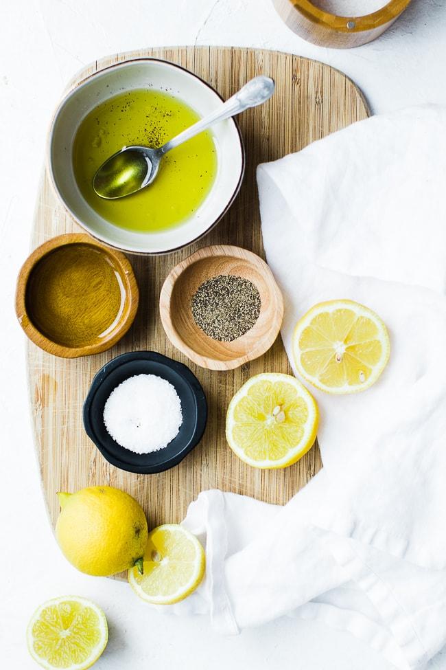 olive oil, lemon, pepper, salt