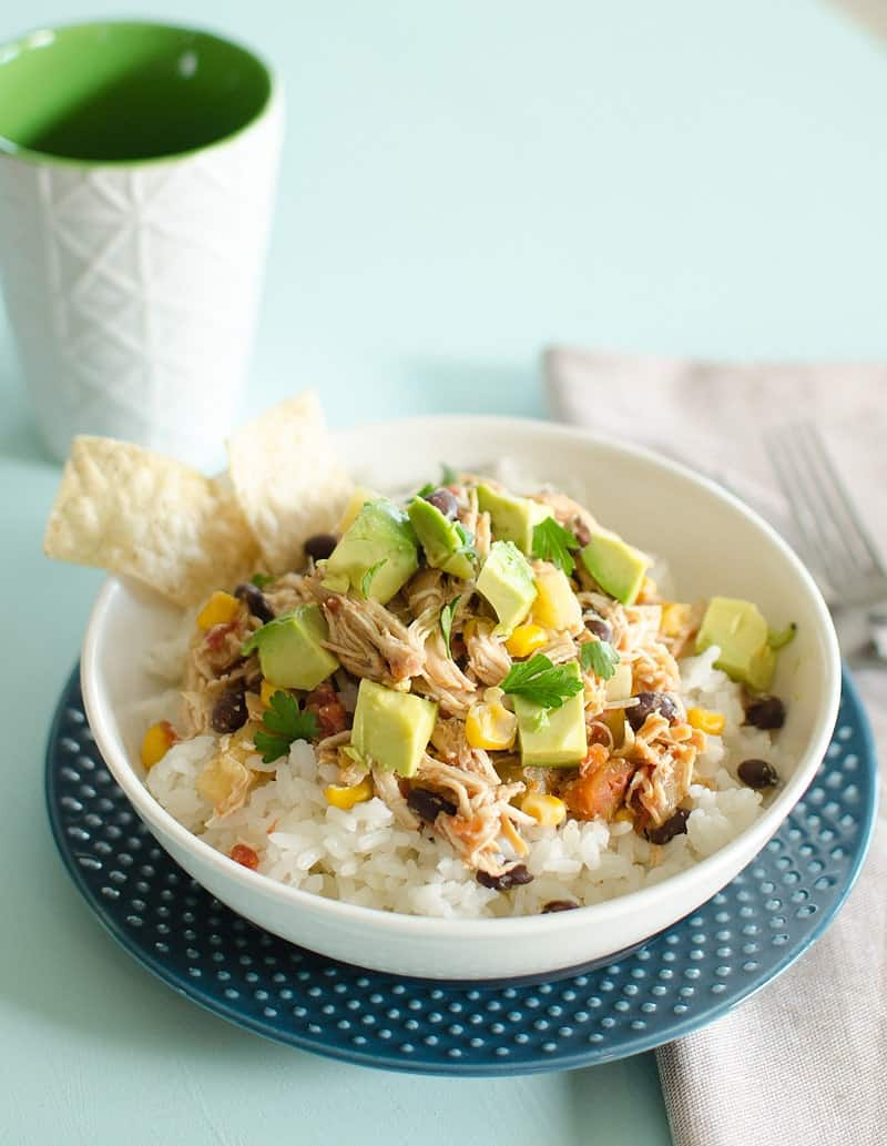 Crockpot Chicken Freezer Meal served on rice in bowl