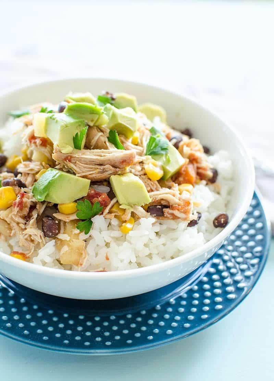Crockpot Chicken Freezer Meal served on rice