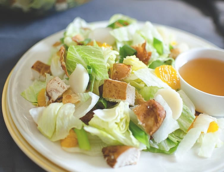 Won-Ton-Chicken-Salad close up with dressing on the side