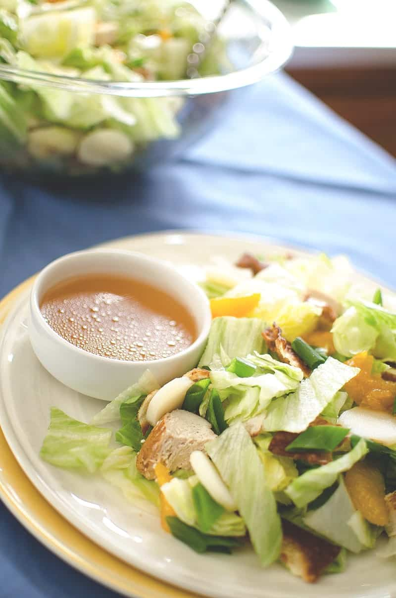 Won-Ton-Chicken-Salad close up with dressing on side
