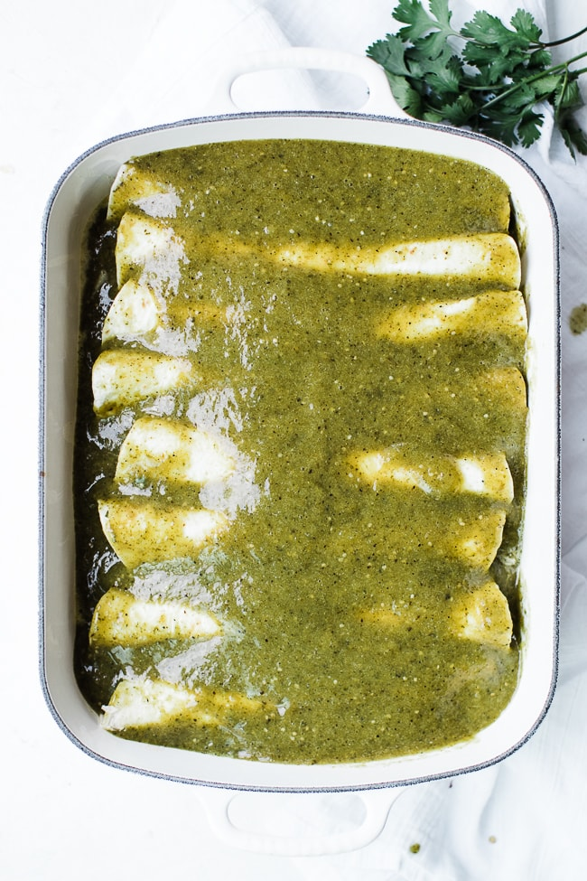 enchiladas smothered in green enchilada sauce