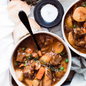 one bowl shot unclose of beef stew