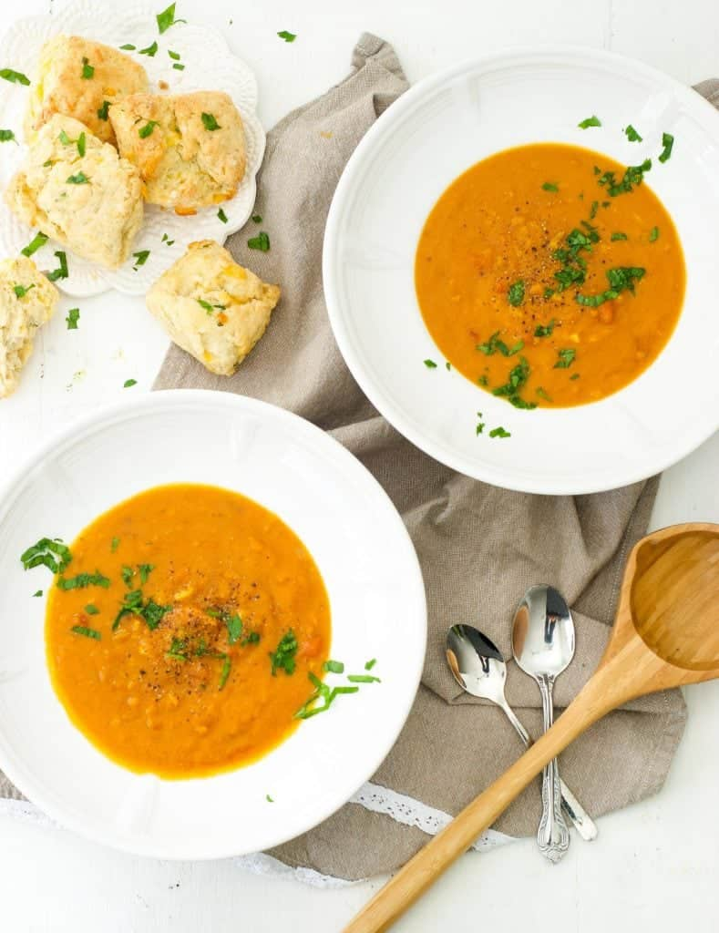 Pumpkin Coconut Lentil Soup