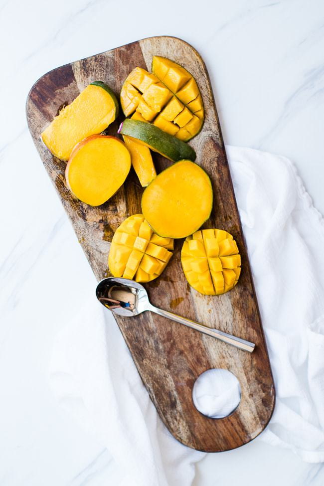 picture of cutting up mango