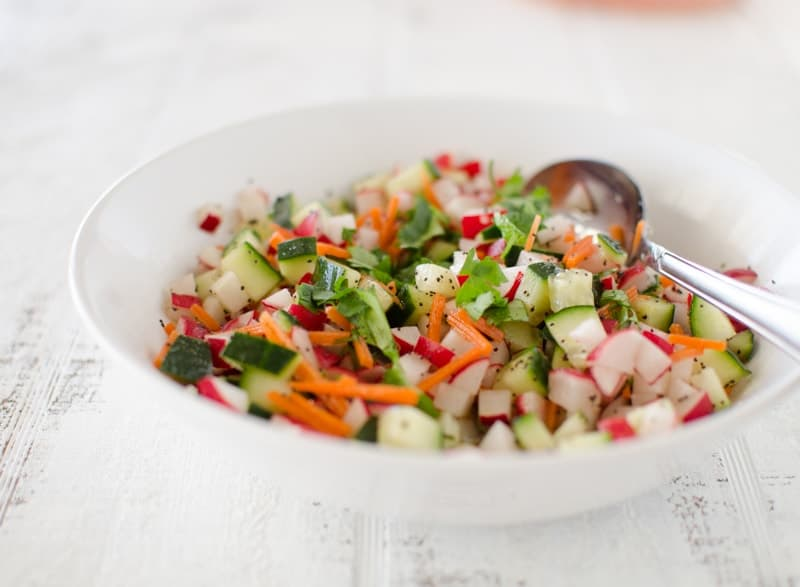 Radish and Cucumber Salad with Lemon Honey Poppyseed Vinaigrette
