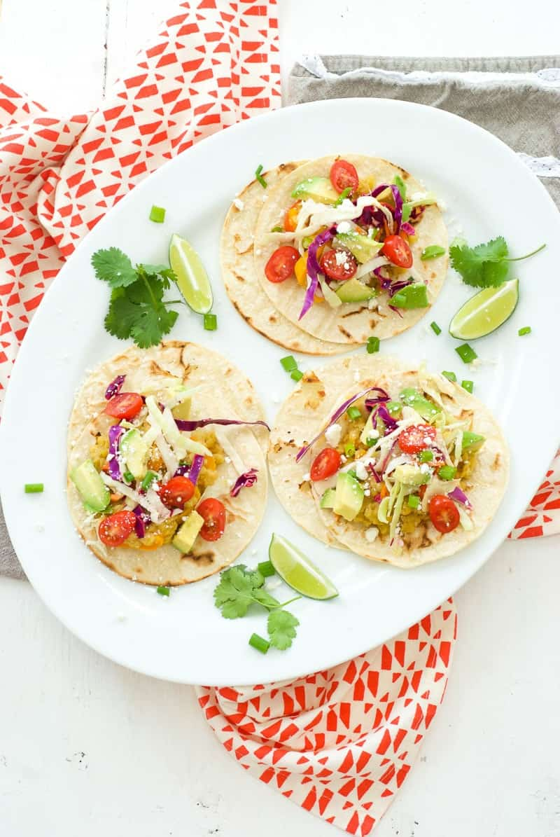 Vegetarian Lentil Tacos | vegetarian taco recipes | vegetarian recipe ideas | recipes for vegetarians | veggie tacos | recipes using lentils | easy vegetarian recipes | how to make vegetarian tacos || Oh So Delicioso