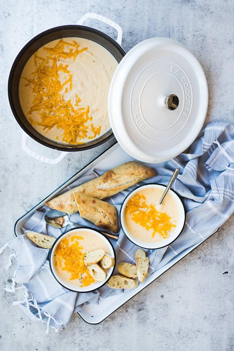 Creamy Cheddar Cauliflower Soup   homemade soup recipes   soup recipe ideas   cold weather soup recipes   quick soup recipes   easy dinner recipes   cold weather recipe ideas    Oh So Delicioso #cauliflowersoup