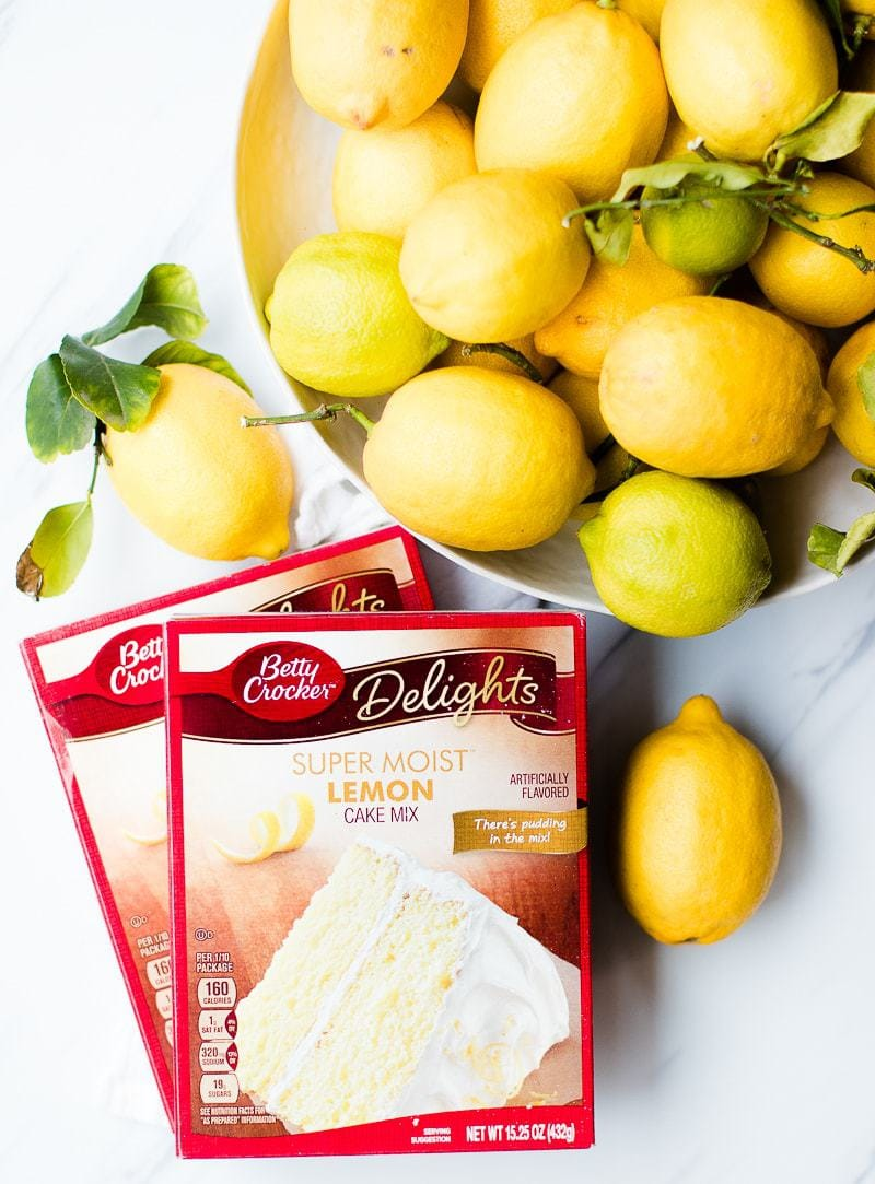 fresh lemons and Betty crock lemon cake mix