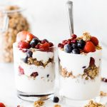 two fruit and granola parfaits