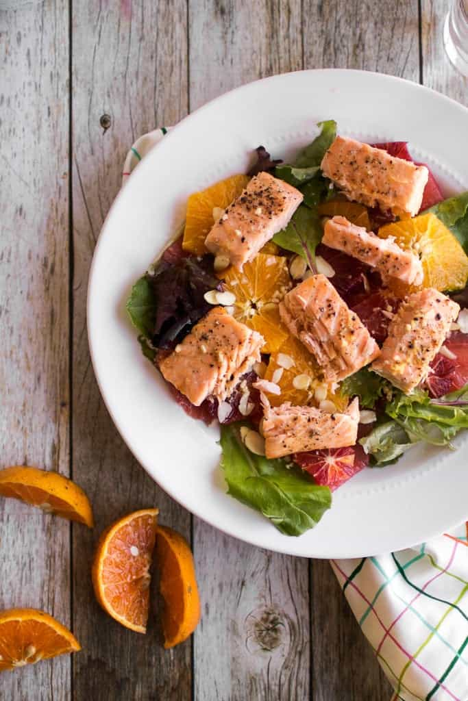 Citrus and Salmon Salad overhead shot, slices of orange on the side