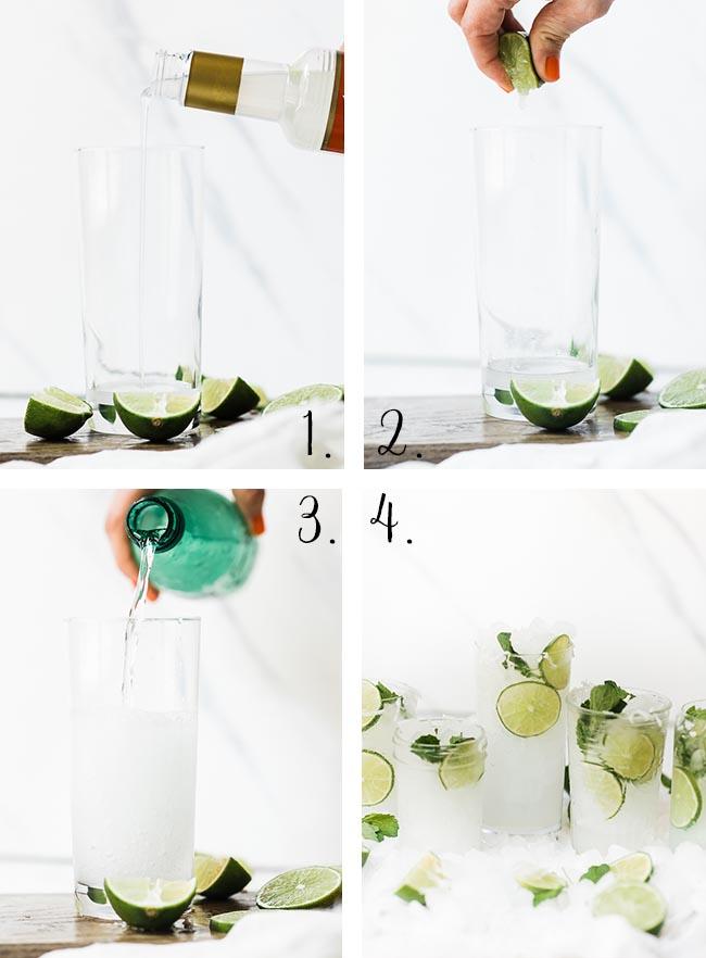 Coconut Lime Spritzer Summer Mocktail process.