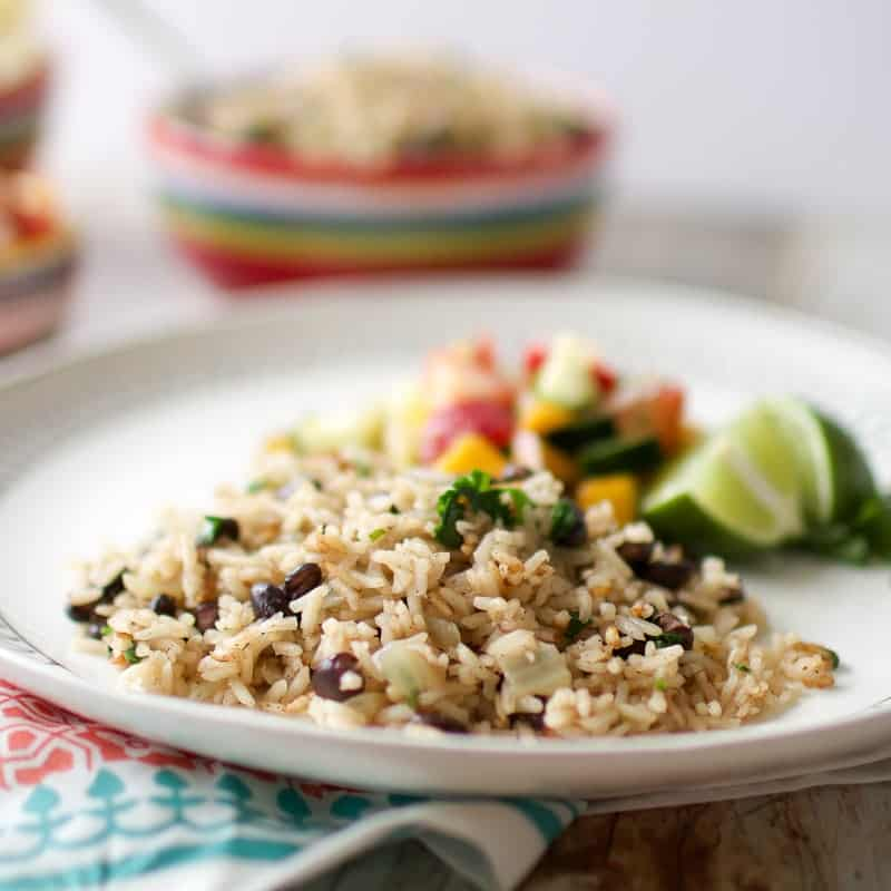 Caribbean Rice and Beans on a plate