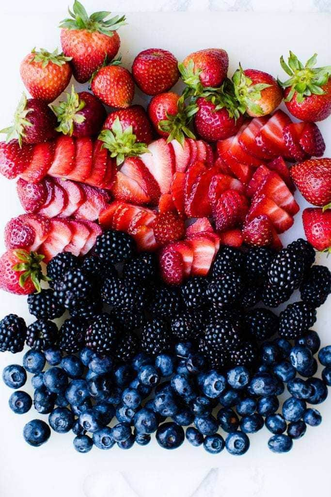 pecans, blueberries, strawberries, blackberries
