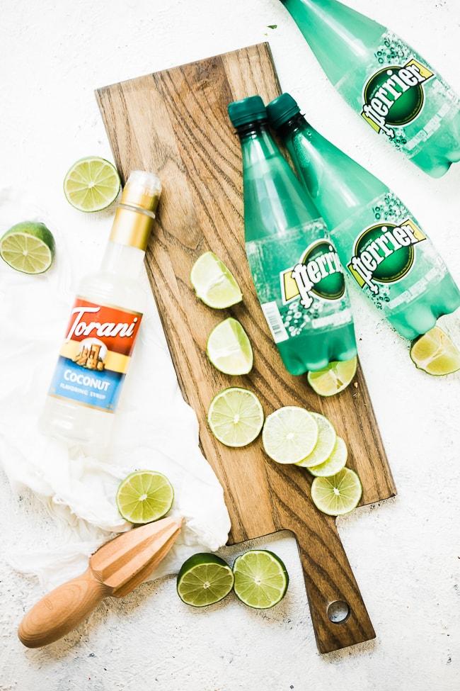 Coconut Lime Spritzer Summer Mocktail ingredients.
