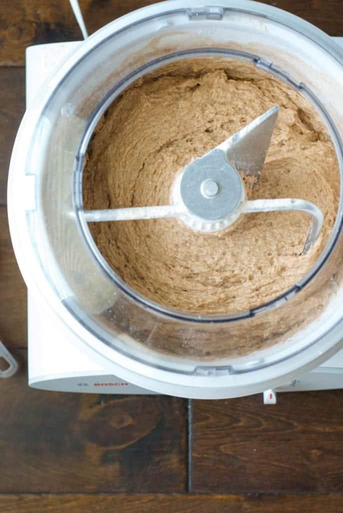 100% Whole Wheat Bread dough in a bread mixer