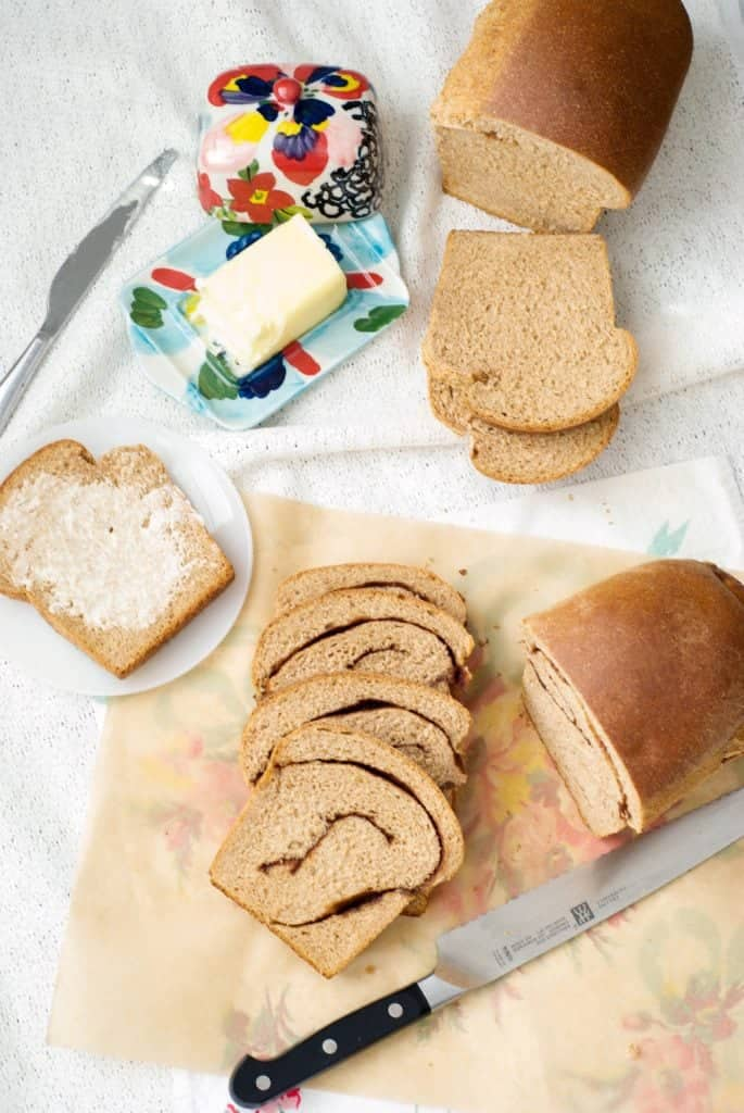 An overhead shot of100% Whole Wheat Bread and cinnamon toast cut into slices