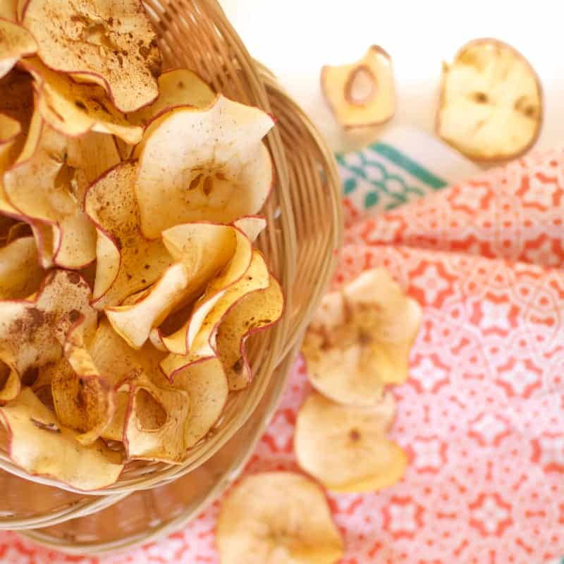 Cinnamon Apple Chips in a basket