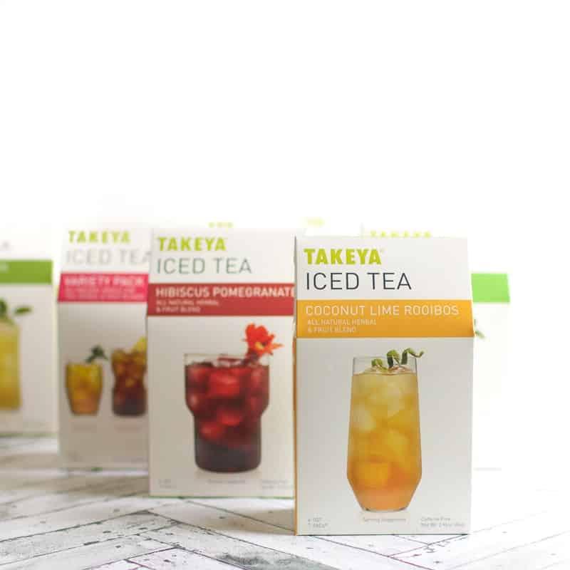 Boxes of Takeya ice tea on a white surface