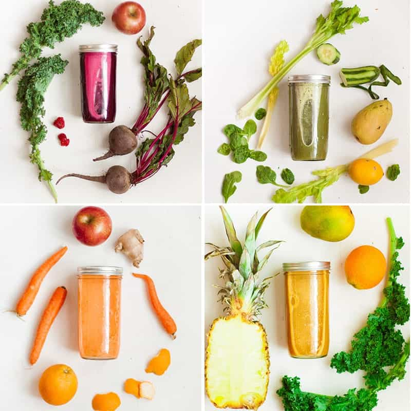 collage of four types of juices, in jars, surrounded by their respective ingredients