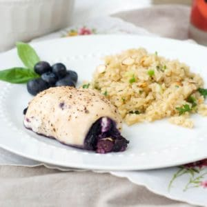 Blueberry Basil Chicken with Rice Pilaf