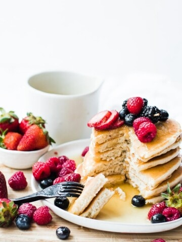stack of pancakes cut into