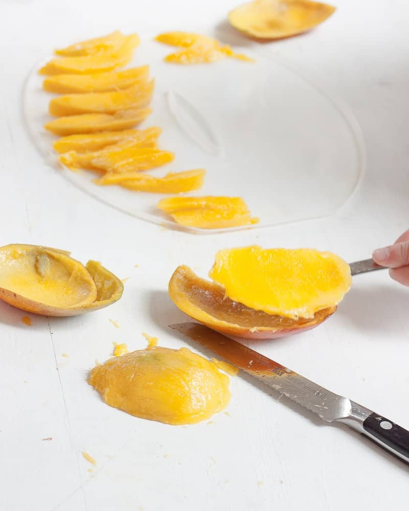 A process shot for making dried mango