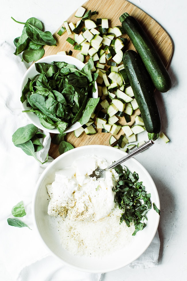 spinach, zucchini, ricotta, parmesan cheese ingredients