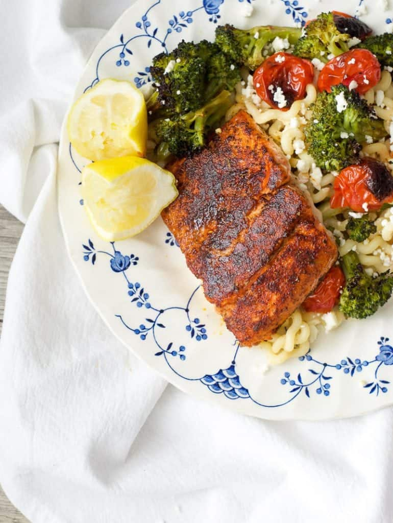 Blackened Salmon and Roasted Veggie Pasta