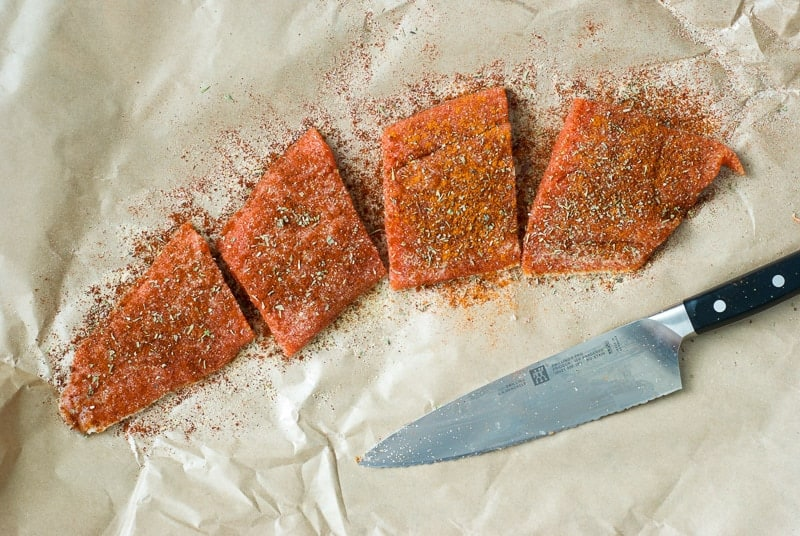Blackened Salmon and Roasted Veggie Pasta