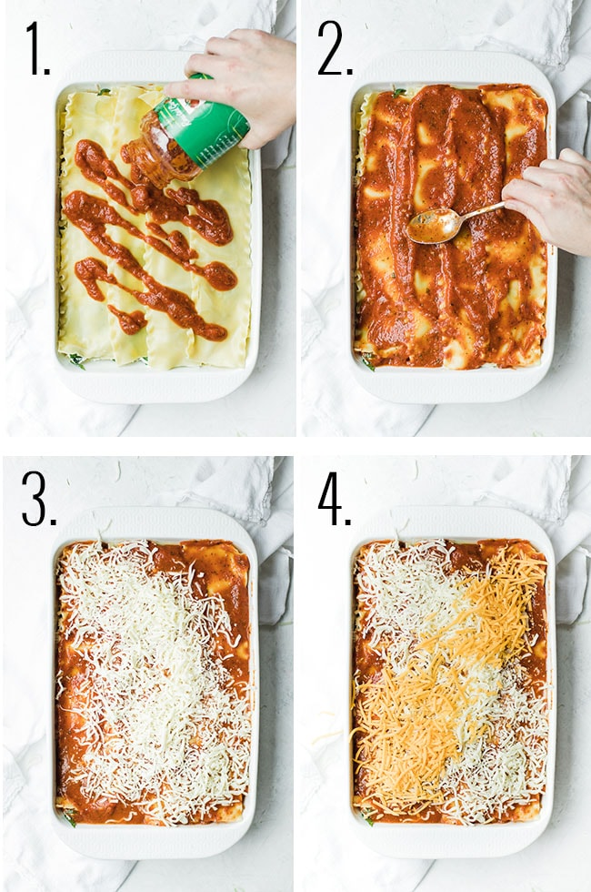 steps to topping lasagna