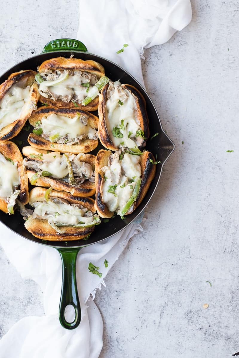 Philly Cheesesteak in a cast iron skillet