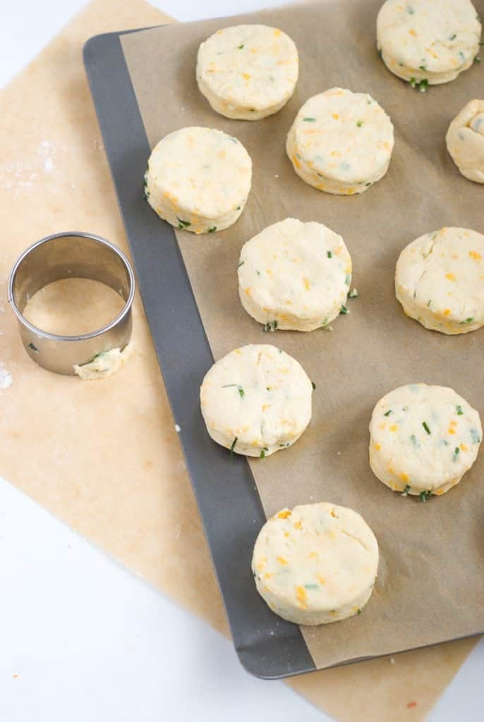 An overhead shot of cheese biscuits cut out with a cutter sitting on a work surface