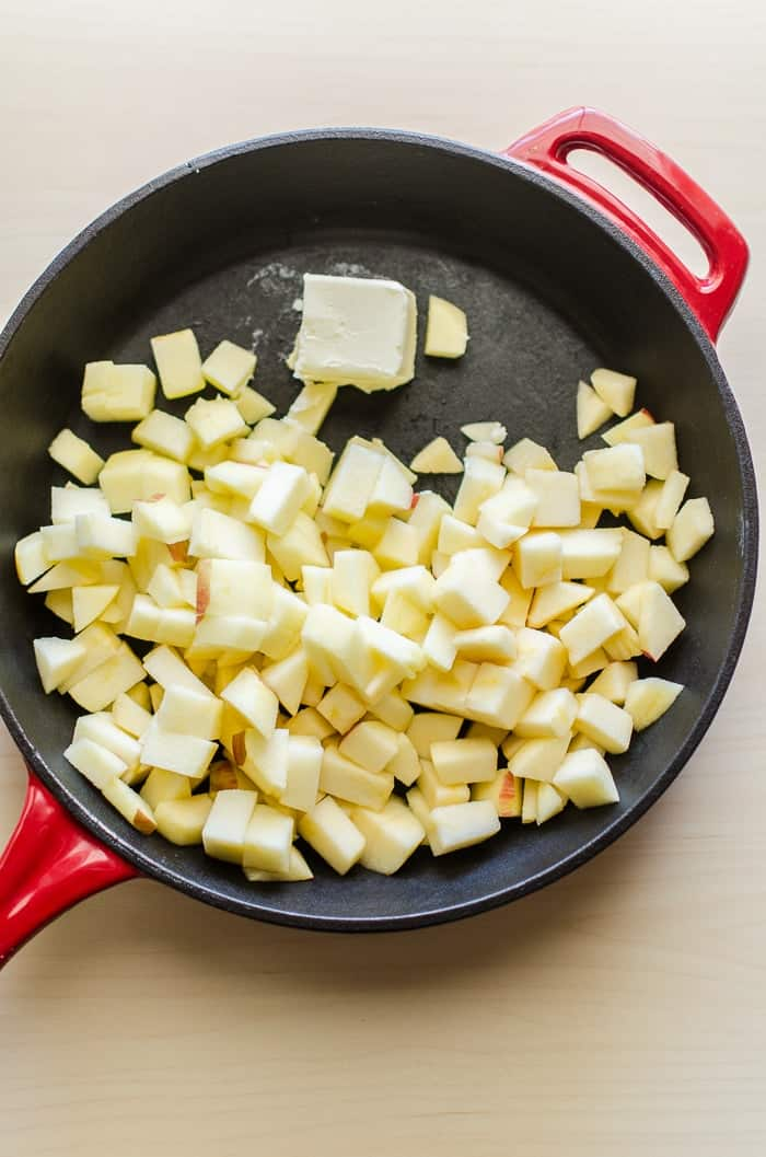 Chopped Apples in a red skillet pan