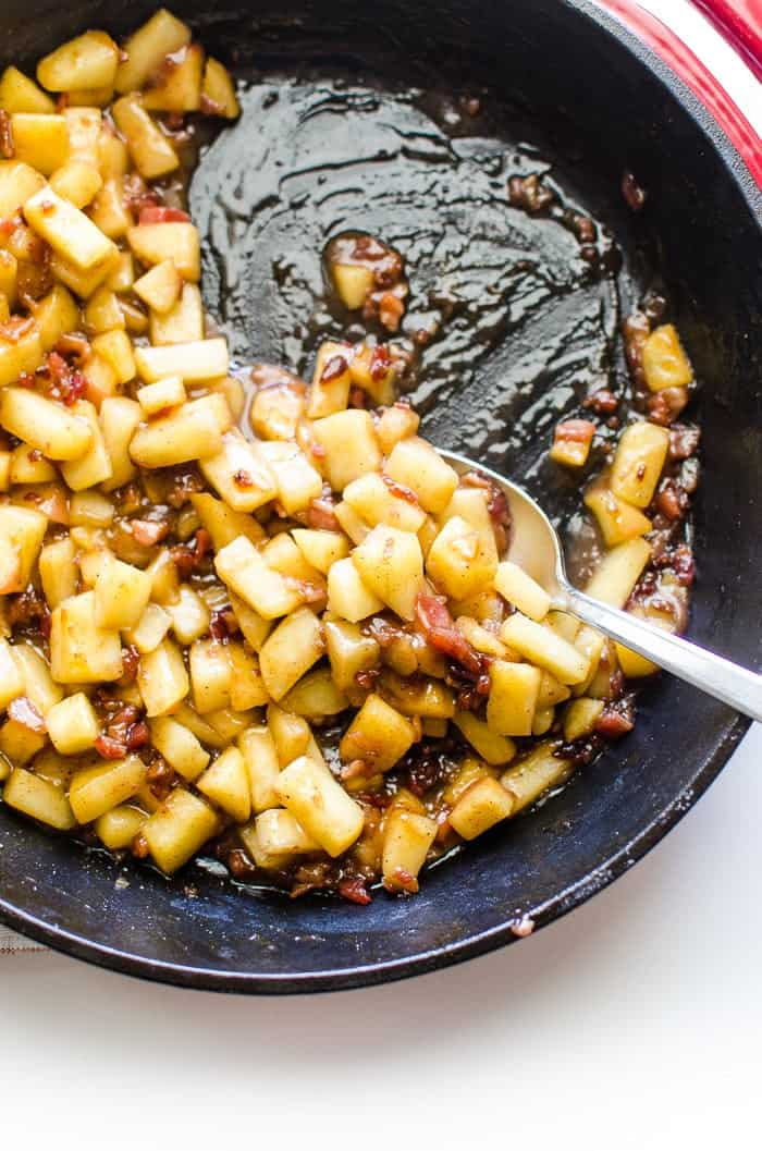 Sautéed Apples with Bacon in a sauce pan