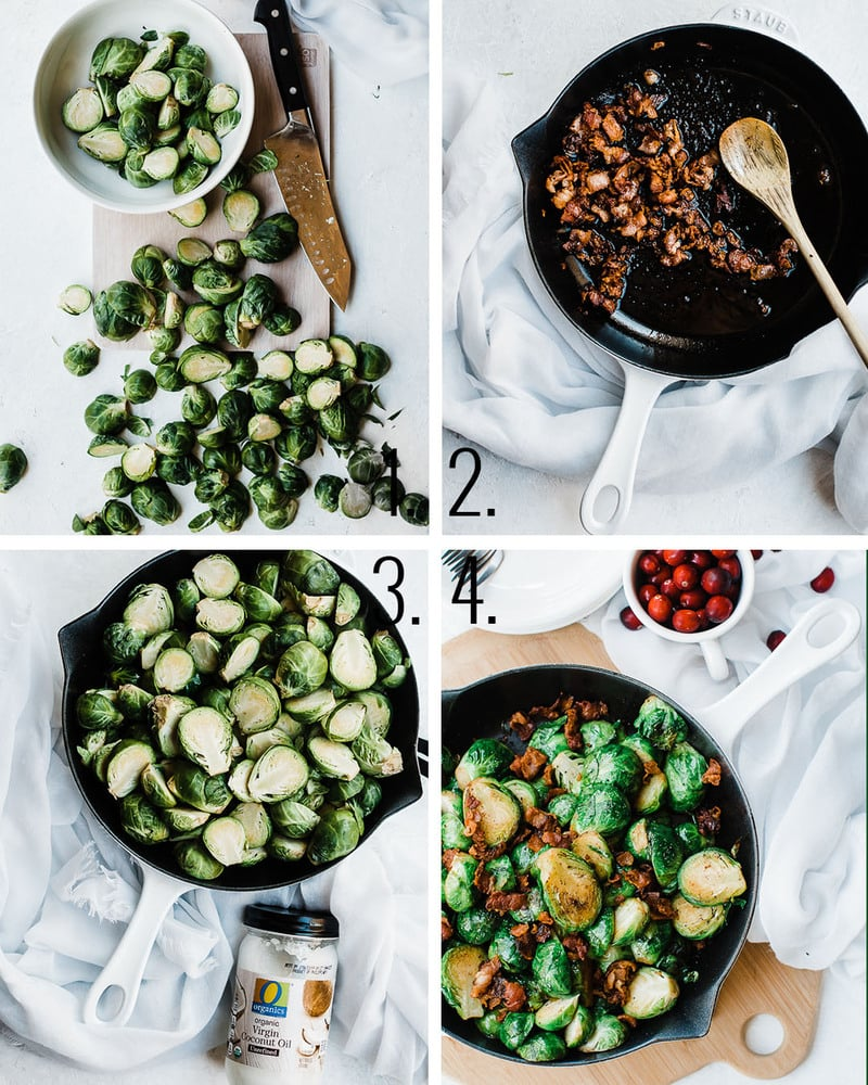 Brussel sprouts with bacon and garlic process shots.