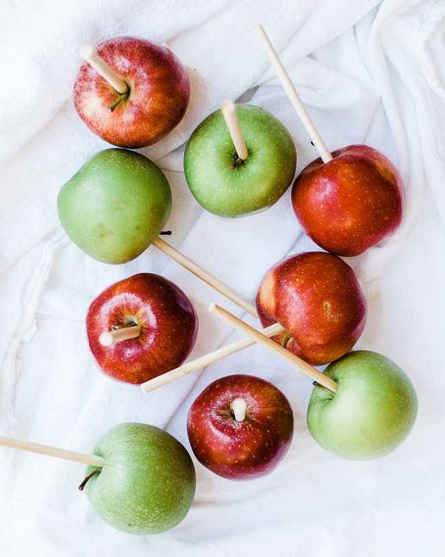 apples with sticks inside