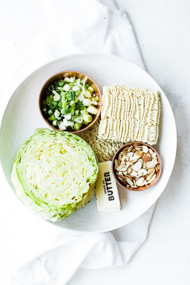 ramen noodles, head of cabbage, chopped chives, slivered almonds and butter