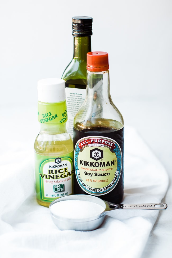 rice vinegar, oil, soy sauce, sugar