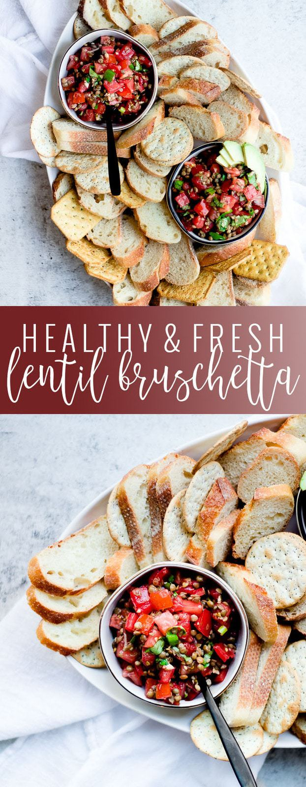 Lentil Bruschetta Recipe pinterest image