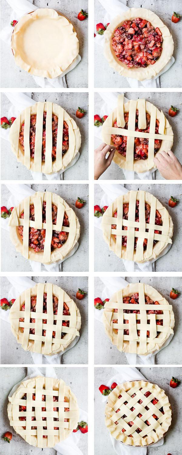 collage image of strawberry rhubarb pie being made