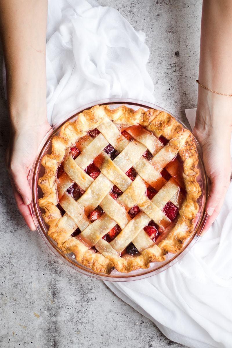 fresh baked Tart Strawberry Rhubarb Pie